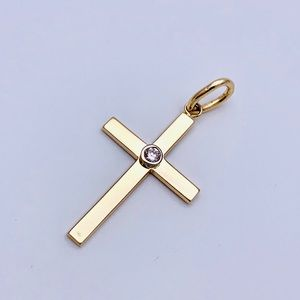 14kt YG and .12 Natural Diamond Cross Pendent
